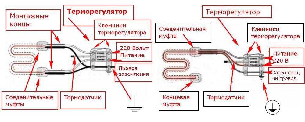 Схема подключения резистивного кабеля одного и двух жильного фото